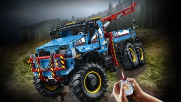LEGO Technic - 42070 6x6 All Terrain Tow Truck - This truck has huge chunky tires, heavy-duty bull bar with chain and hook, movable lights and a detailed driver's cab with opening doors and you can activate the power functions remote control.