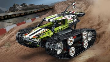 LEGO Technic - 42065 RC Tracked Racer - Get ready for high-speed action with the high-powered RC Tracked Racer, featuring a fresh lime-green, white and black color scheme with cool stickers, roll bars and huge rugged tracks for ultimate maneuverability!