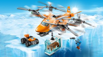 LEGO City Arctic Expedition - 60193 Arctic Air Transport - Carry a big a preserved prehistoric animal inside a block of ice with the orange plane that has 4 propellers on the top.