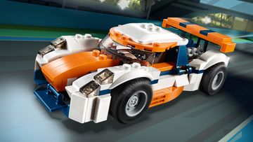 Build a Sunset Track Racer, Classic Race Car or Speed Boat with the LEGO® Creator 3in1 Sunset Track Racer Set!