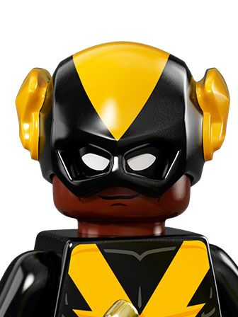 Portait of Black Vulcan with black and yellow mask and outfit