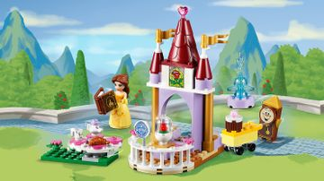 LEGO Juniors - 10762 Belle's Story Time - Belle reads a books to mrs. Potts and her child the cup next to the tower where the magical rose is.