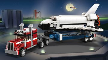 Blast off in the LEGO® Creator 3in1 Shuttle Transporter, Helicopter Transporter or Car with Caravan!