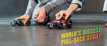 Ready for LEGO® Technic world's biggest pull-back stunt?