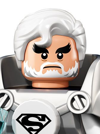 A portrait og Jor-El with white hair and dressed in white, with the Super Man logo
