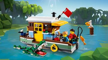 Set sail with the LEGO® Creator 3in1 Riverside Houseboat, Seaplane with Dock and Fishing Village with Boat!