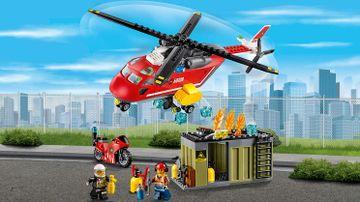 LEGO City požár kontejneru a helikoptéra – Hasičská zásahová jednotka 60108