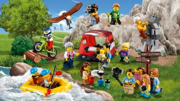 LEGO City Town - 60202 People Pack: Outdoor Adventures - Go camping in nature! Put up your tent, make dinner, see an eagle, climb in the mountains, take selfies or river raft.