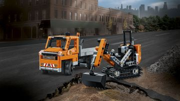 LEGO Technic - 42060 Roadwork Crew -  The set consists of a truck with removable trailer, plus a rugged tracked digger in a classic orange, gray and black color scheme.
