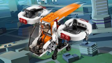 LEGO Creator 3-in-1 Drone Explorer - 31071 - The drone is flying above the city, taking a bird's-eye view of the landscape.