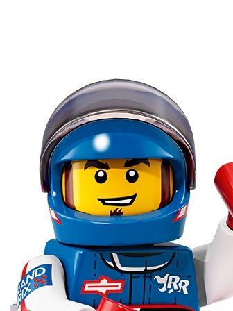 LEGO Minifigures Guy in Race Car Suit with Helmet portrait